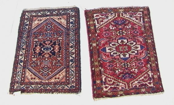 413: (TWO) 2'11x2'1 HAMADAN  Oriental Carpet Mats. Red