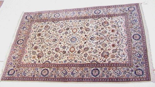 417: 6'11x4'6 KASHAN Oriental Carpet Brown Tan field. J