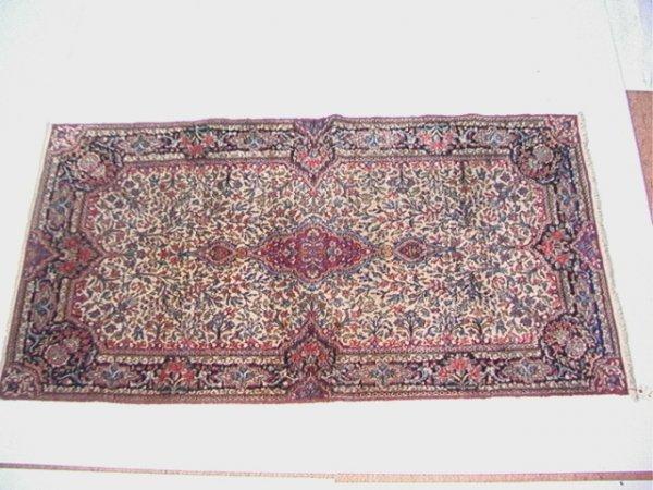 419: 7.4x3'11 KIRMAN  Oriental Carpet Tree Pattern Tan