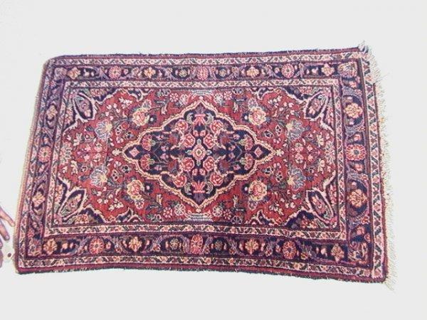 421: 4'2x2'9 HAMADAN  Oriental Carpet  Red Field, Blue