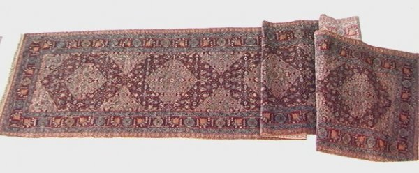 436: 19x3 ANTIQUE TABRIZ RUNNER Oriental Carpet Burgund
