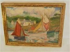 964 Impressionist Oil Painting on Board  Harbor boati