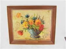 970: F W WEBER Oil Painting on Board Still Life Flowers