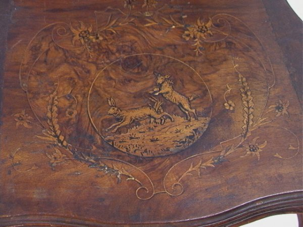 1017: Antique Black Forest Music Box Chair Carved and i