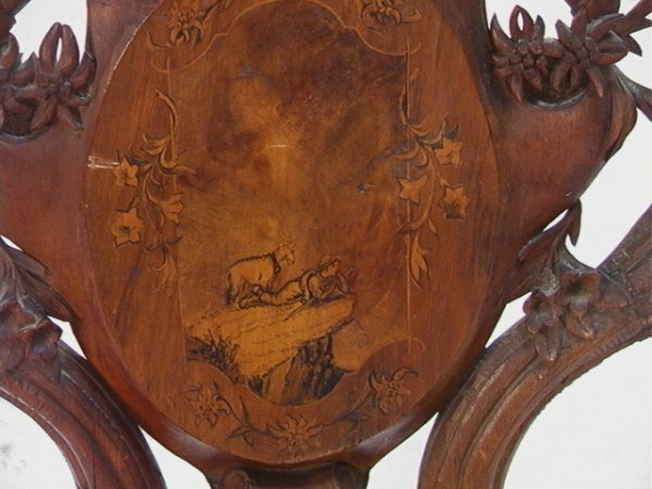 1017: Antique Black Forest Music Box Chair Carved and i - 2