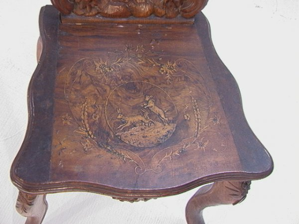 1017: Antique Black Forest Music Box Chair Carved and i - 4