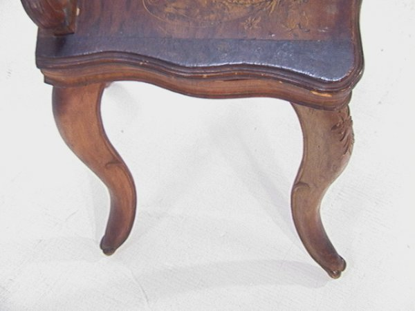1017: Antique Black Forest Music Box Chair Carved and i - 5