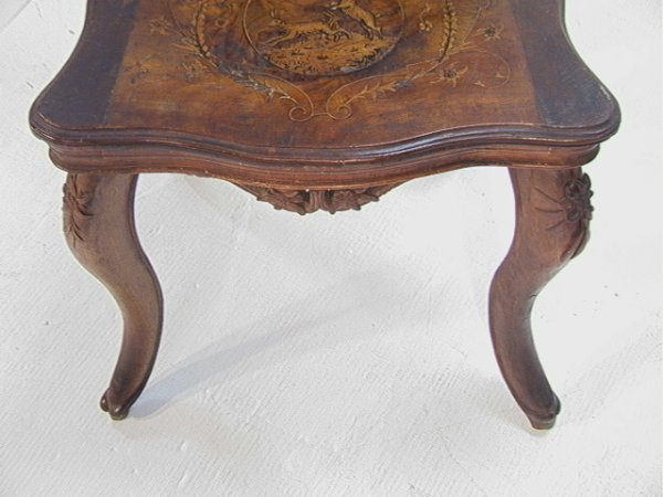 1017: Antique Black Forest Music Box Chair Carved and i - 6