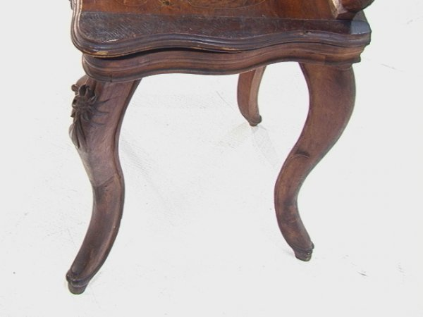 1017: Antique Black Forest Music Box Chair Carved and i - 7