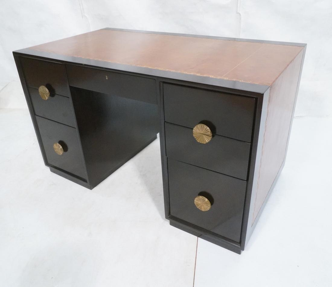TOMMI PARZINGER Modernist Ebonized Desk. Brown le