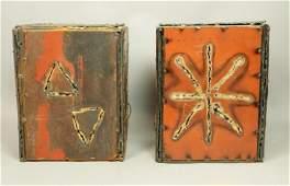 Pr Brutalist Welded Steel Cube Form Table Lamps.