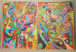 Pr C. WAHRMAN Colorful Abstract Images Paintings.