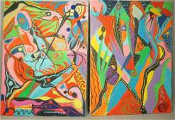 Pr C. WAHRMAN Colorful Abstract Images Paintings,