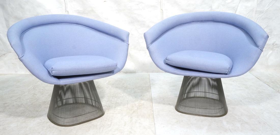 Pr Warren PLATNER Arm Lounge Chairs. Chrome rod c