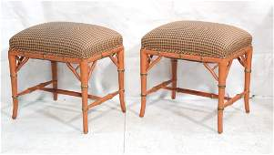 Pr Pink Faux Bamboo Wood Bench Stools. Pink and b