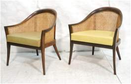 Pr Harvey Probber Style Lounge Chairs. Caned Back