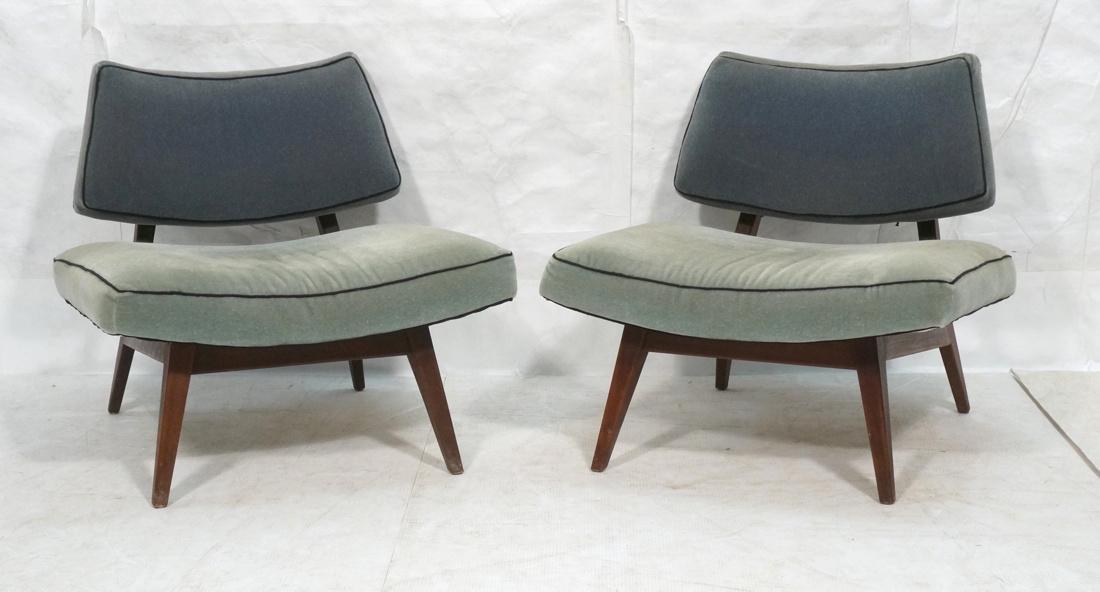 Pr JENS RISOM Pale Blue Green Mohair Lounge Chair
