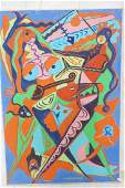 C. WAHRMAN Colorful Abstract Dancers Painting. Mo