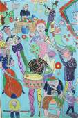 C. WAHRMAN Colorful Street Musicians Figural Pai