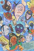 C. WAHRMAN Colorful FACES Abstract Painting Colla