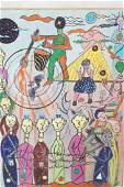 C. WAHRMAN Colorful Row of Standing People Abstra