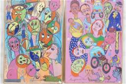 Two C. WAHRMAN Colorful Abstract Paintings Collag