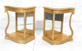 Pr French style Mirror Top Side Tables. Shaped fr