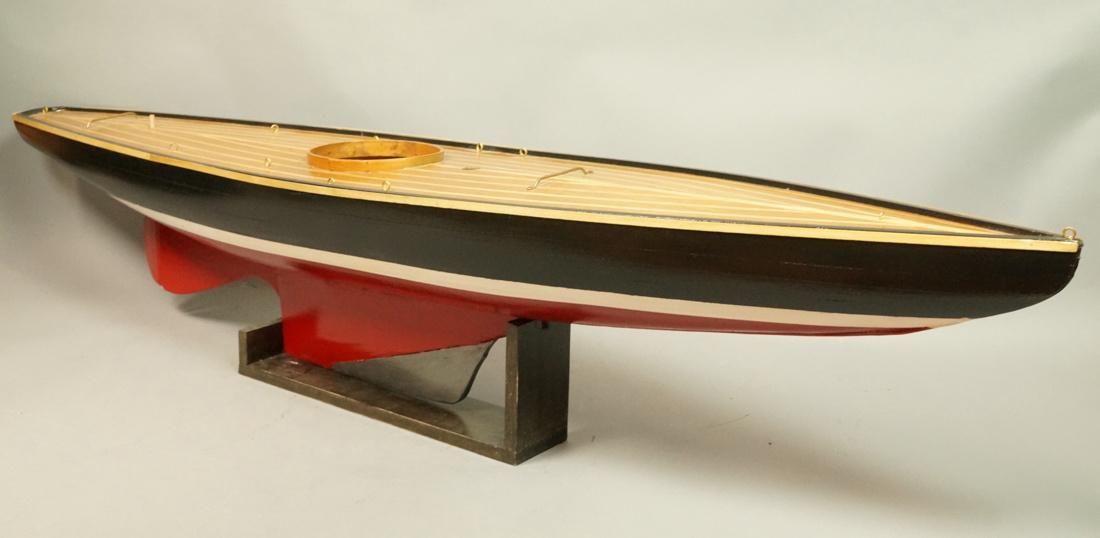 Unfinished Vintage Wood Model Pond Boat. All wood