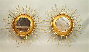 Pr Contemporary Gold Metal Sun Wall Mirrors. Sunb
