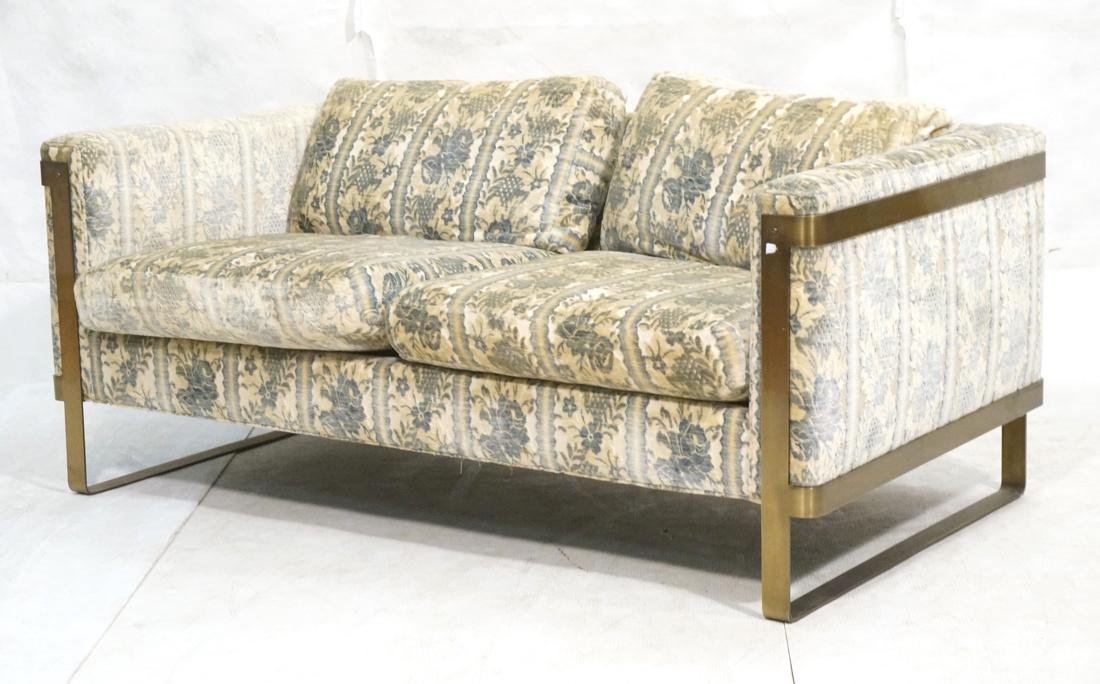 Milo Baughman Steel Frame Sofa. Wide Flat Metal F