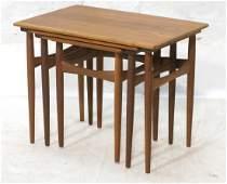 Set Three Danish Nesting Tables. Banded Teak Side