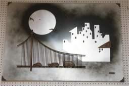 KOVACS 3D Bridge & Moon Wall Sculpture Art. Mixed