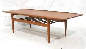 GRETE JALK style Danish Teak Coffee Table. Banded