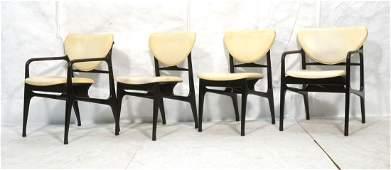 Set 4 Ebonized Wood frame Dining Chairs. Stylish