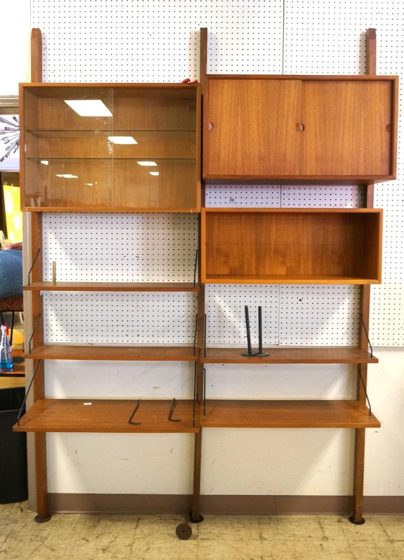Teak Danish Modern Wall Shelf & Cabinet Unit. Thr