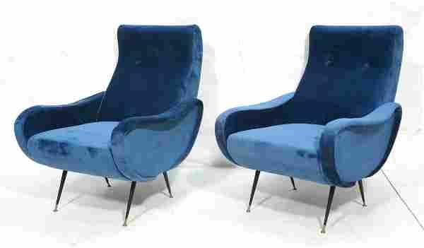Pr Italian Style Upholstered Modernist Lounge Cha