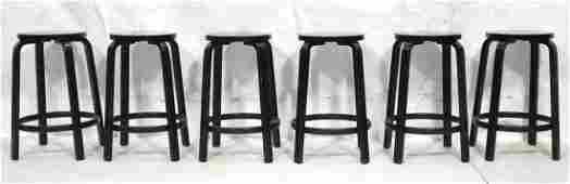 Set 6 ARTEK by ALVAR AALTO Ebonized Bar Stools B