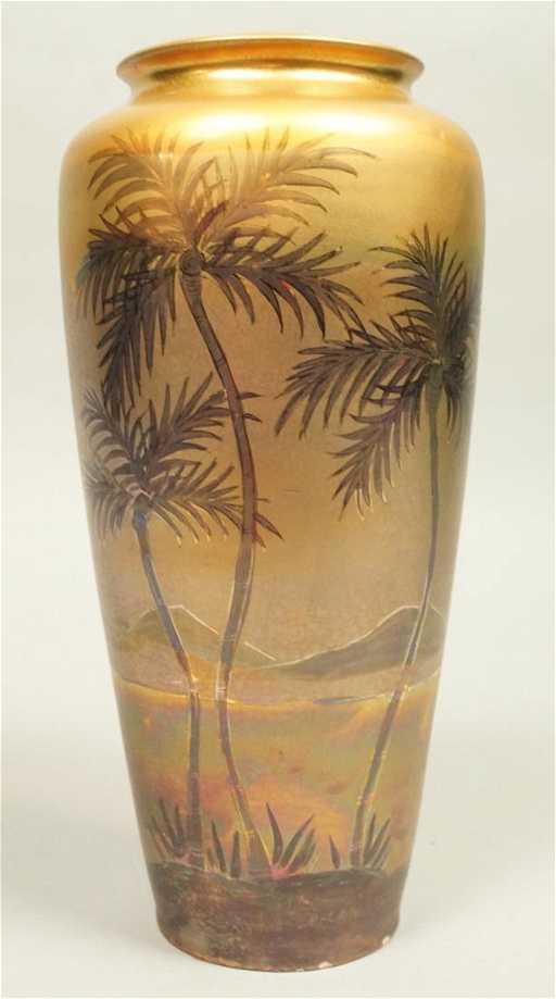 Signed Le Camark Iridescent Art Pottery Vase P