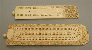 2pc Asian Carved Cribbage Boards. Largest with ca