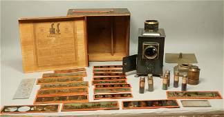 Antique Magic Lantern in Original Box. Metal case