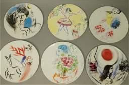 Set 6 BERNARDAUD Plates MARC CHAGALL Collection