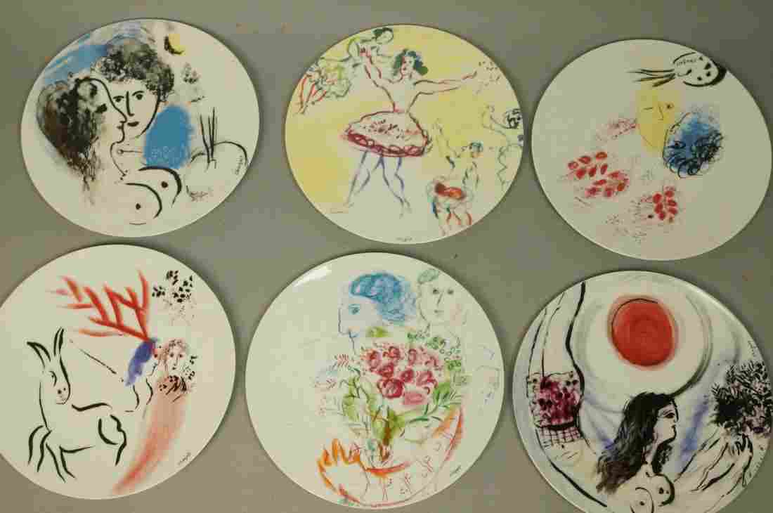 Set 6 BERNARDAUD Plates MARC CHAGALL Collection.