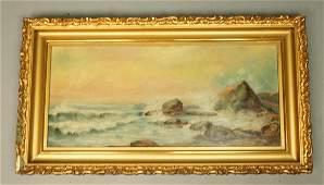 Antique Coastal Scene Oil Painting. Waves crashin
