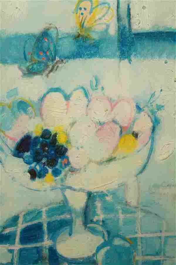 ALBERT ZAVARO Still Life Oil Painting. Pastel she