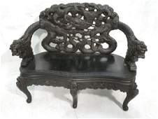 Heavily Carved Dragon Chinese Love Seat Bench De
