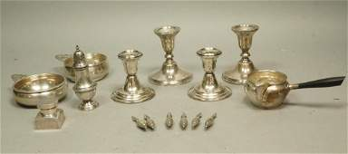 15pc Sterling Table Ware. 2 pair Weighted Candle