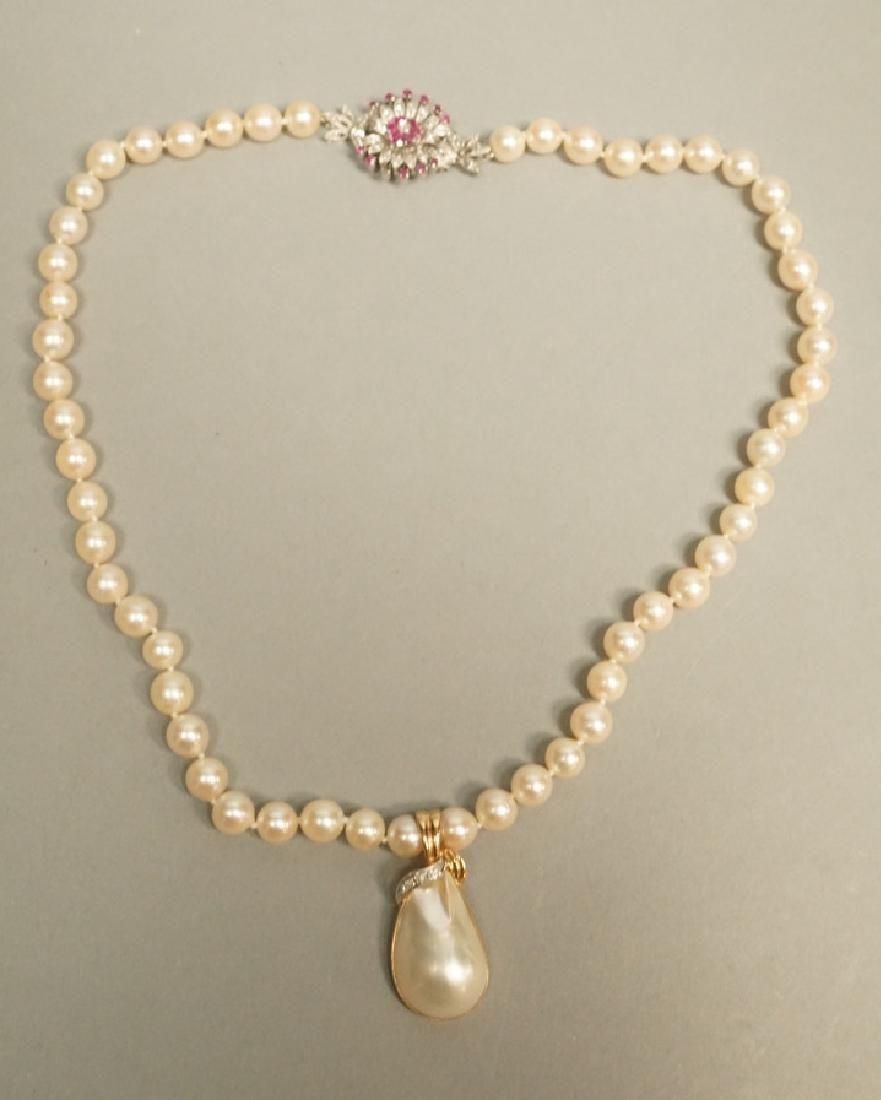 Pearl Necklace w Diamond & Ruby 18K Gold Clasp
