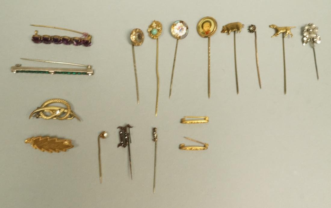 17pc Antique Jewelry. 11 Stick Pins. 3 Pins. 1 Sn