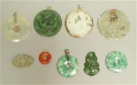 9pc Chinese Jade & Stone Jewelry. 4 carved pendan