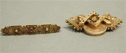 2pc 14K Victorian Gold Etruscan Style Pins One B